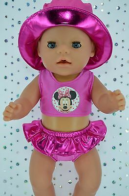 "Play n Wear Doll Clothes For 17"" Baby Born PINK SWIMMING BIKINI~SUN HAT"