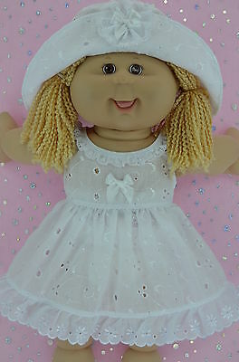 "Play n Wear Doll Clothes For 16"" Cabbage Patch WHITE BRODERIE ANGLAISE DRESS~HAT"