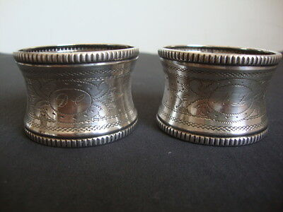 Napkin Ring PAIR,Antique French Sterling Silver Ornate Engraved Decoration *-