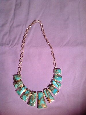 Silver 925 Turquoise Necklack Solid