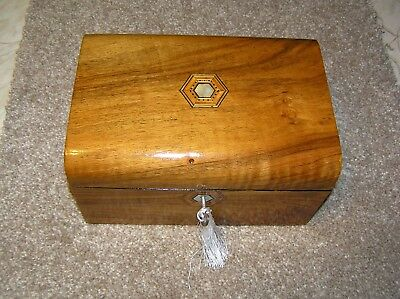 Antique Victorian Walnut Domed Top Jewellery/trinket Box, Mop/tunbridge Inlay.