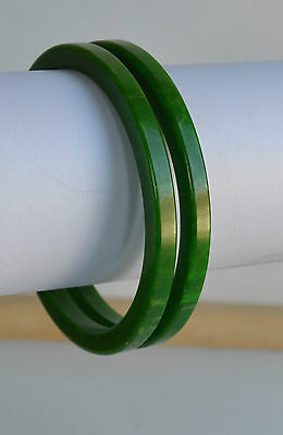 Art Deco Set 2 Pcs Swirl Green Bakelite Bangle Bracelet Tested