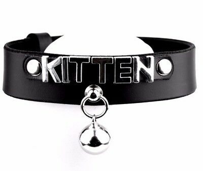 CUSTOM HANDCRAFTED STUNNING Deluxe KITTEN leather collar choker Kitty Bell Col35