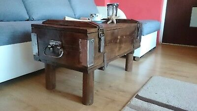 Rustic Wood Pine Chest Trunk Box Vintage Coffee Table Unique Wooden Legs