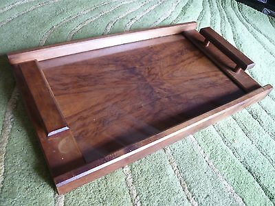Vintage walnut butlers tray with glass top