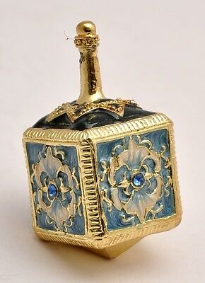 Metal Dreidel With Base in Blue Star of David Hand Made Enamel Painting