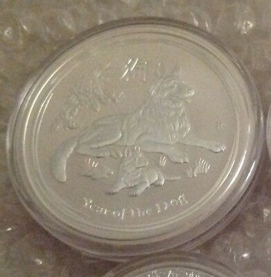 2018 999 Silver 2 Oz Lunar Series 2 Year Of The Dog Bullion Coin In Capsule