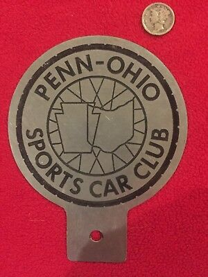 PENN-OHIO SPORTS CAR CLUB Plate Topper / Radiator Badge recessed letters & print