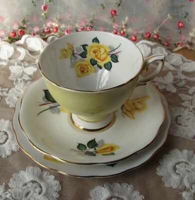 Beautiful vintage Royal Standard yellow floral china Trio, cup, saucer & plate