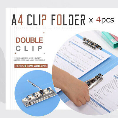4x A4 Double Clip File Folder Portable For Files Sorting document holder