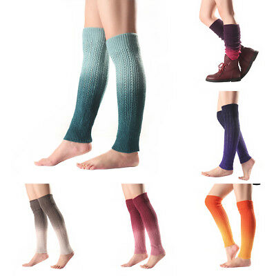 EP_ Women Gradient Knee High Boot Socks Winter Knitted Footless Leg Warmers Sanw