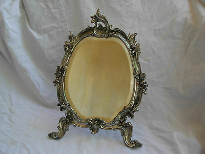 ANTIQUE FRENCH SILVERPLATED PEWTER TABLE MIRROR,LOUIS 15 STYLE,LATE 19th.