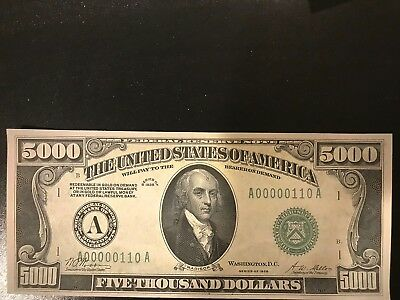 UNC Reproduction Louise 1934 USA 5000 Dollars Federal Reserve Note St