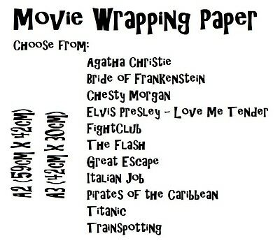 New Unique MOVIES Wrapping Paper, 12 Styles, A1, A2 or A3 - from £2.50! Film!