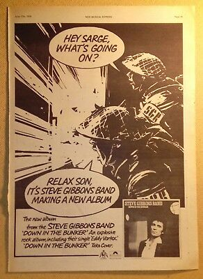 "STEVE GIBBONS BAND ""Down in the Bunker"" Original 1978 NME Trade/ Advert Poster"