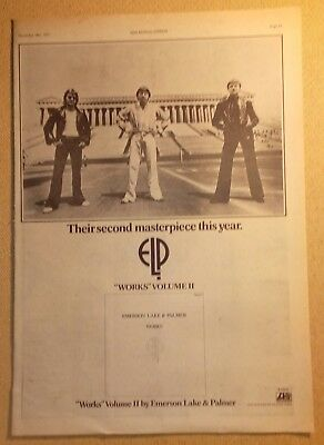 "EMERSON LAKE & PALMER ""Works Volume"" Original 1977 NME Trade/Press Advert"