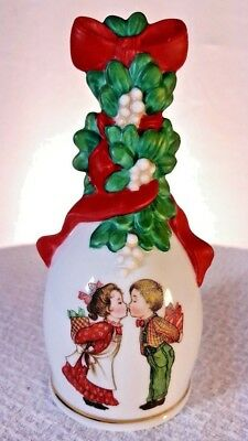 Ceramic Christmas 1989 Decorative Collectable Avon Hand Bell Kissing Girl & Boy