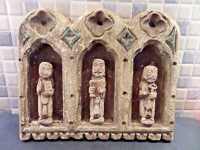 Very Old Early Religious Hand Carved Polychrome Panel With 3 Apostle Figures