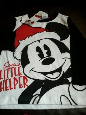 Mickey mouse long sleeved xmas top bnwt 12-18mths