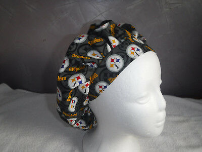 Bouffant surgical scrub hat cap medical NFL football pittsburgh steelers gray