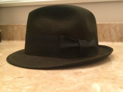 Men's Fedora Hat By Mallory Fifth Avenue Brown Vintage Sz 7- 7 1/8