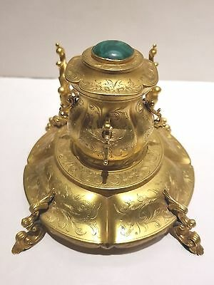 *REDUCED* Antique French Bronze Inkwell with Malachite Lid and engraved design