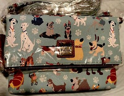 2017 Dooney & Bourke disney dogs foldover zip crossbody bag purse with Bonus