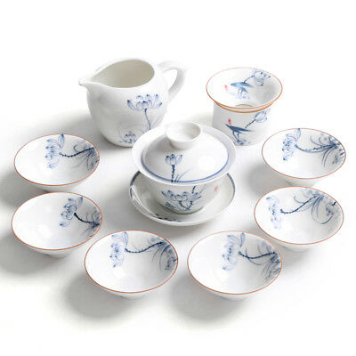 10pcs/lot Chinese jingdezhen tea set handpainted tea cup gaiwan tureen pitcher