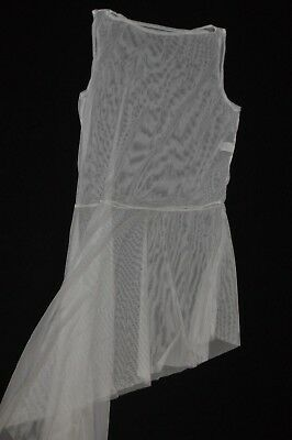 Watercolour Asymmetrical Side white Drape Tank Lyrical Dress size adult Petite