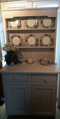 🌻farmhouse Lovely Shabby Chic Painted Grey Pine  Dresser Plate Grooves
