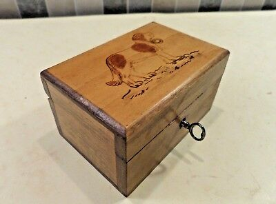 Edwardian Small Wooden Money Box With Pokerwork Dog Design On Lid - Lock & Key