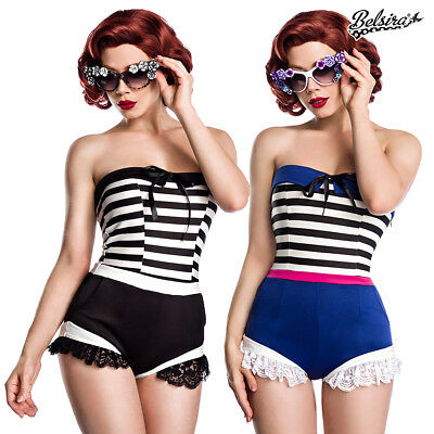Sexy Retro Look Jersey Body Vintage 50er Rockabilly Pin Up Bandeau Rüschen 50032