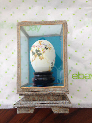 Vintage Asian Hand Painted Egg In Glass Display Box