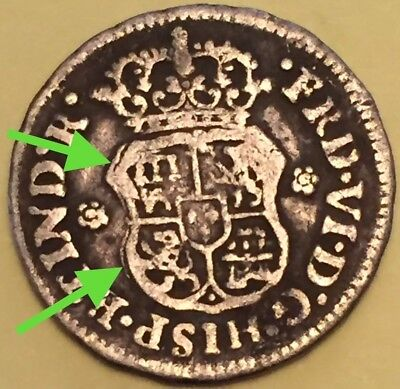 1748 1/2 silver real Mexico ERROR overdate and Doubled die reverse 1748/7,  RARE