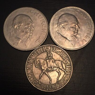 Lot of 3 1965 and 1977 Great Britain Churchill Crown Jubilee (one is unc)