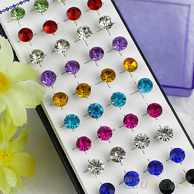 EP_ Wholesale 20 Pair Mixed Lot Dazzling Round Crystal Unisex Stunning Stud Earr