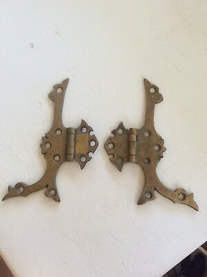 "2 large antique vintage brass hinges ornate design hardware door cabinet 5""x3.5"