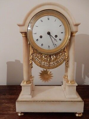 A Rare Early Fine Large French Ormolu/Marble Portico Mantel Clock c1810