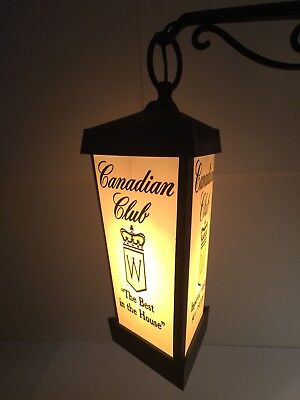 Canadian Club Imported Whiskey Vintage Three Sided Lamp Bar Sign Man Cave Swag