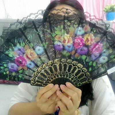 EP_ Spanish Floral Fabric Lace Folding Hand Dancing Wedding Party Decor Fan Heal