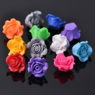10pcs 15mm Mixed Flower Fimo Polymer Clay Loose Spacer Beads Findings