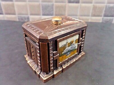ART DECO 1930's FRENCH COPPER EFFECT METAL MONEY BOX WITH PICTURE BEHIND GLASS