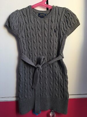 Girls Grey RALPH LAUREN Cable Knit Jumper Dress Age 5 years