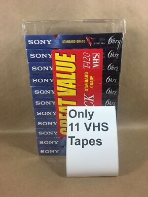 SONY T-120VF 246m Blank VHS Standard Grade Videocassette Tapes, Pack of 11 - NEW