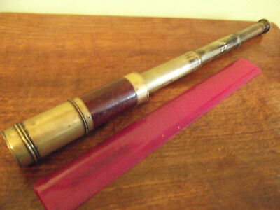 Antique pocket three draw brass and wood telescope