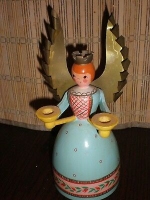 Vintage Germany Wooden Angel & brass Wings Candle Holder Oberammergau