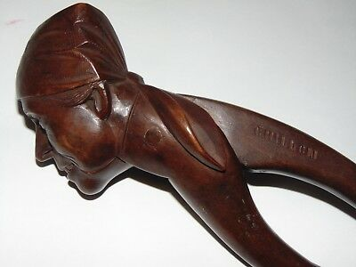 ANTIQUE VINTAGE CARVED CHILLON BLACK FOREST FIGURE MAN in HEADSCARF NUT CRACKER
