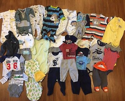 Huge Large Lot of 36 Baby Boy 0-3 Month Winter  Clothes PJs Sleepers Pants Coat