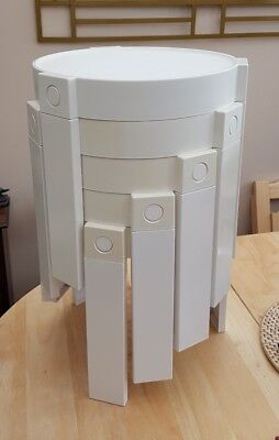 Retro Vintage plastic round stacking stools, tables. Made in Holland. 1970's.