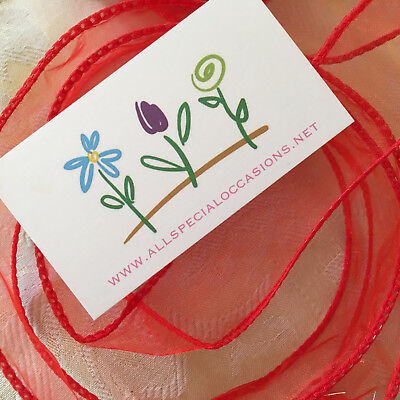Lovely 25mm Wired Edge Christmas Red Sheer Organza Ribbon - Perfect for Wrapping